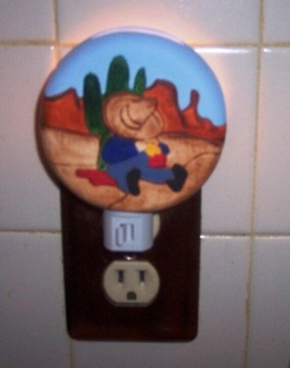 Southwestern Night Light, Siesta, cactus, nite lite, custom made light, western night light, made in the USA