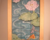 Tile Mural featuring Lotus flowers, Koi and Dragonfly by Chischilly Pottery