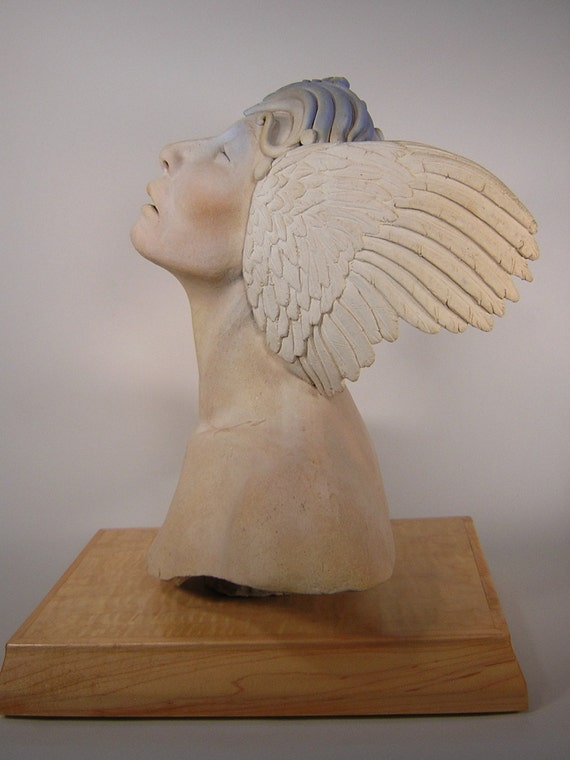 Winged Goddess Sculpture, Original One-of-a-Kind Artwork By Chischilly Pottery, Fine Ceramic Art for Home Decor, Figurative Fantasy Bust