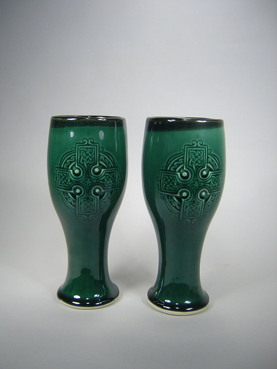 Celtic Cross Beer Cups --  Pilsner Style --Pairs on SALE in Forest Green Glaze, nice Vase or Tumbler