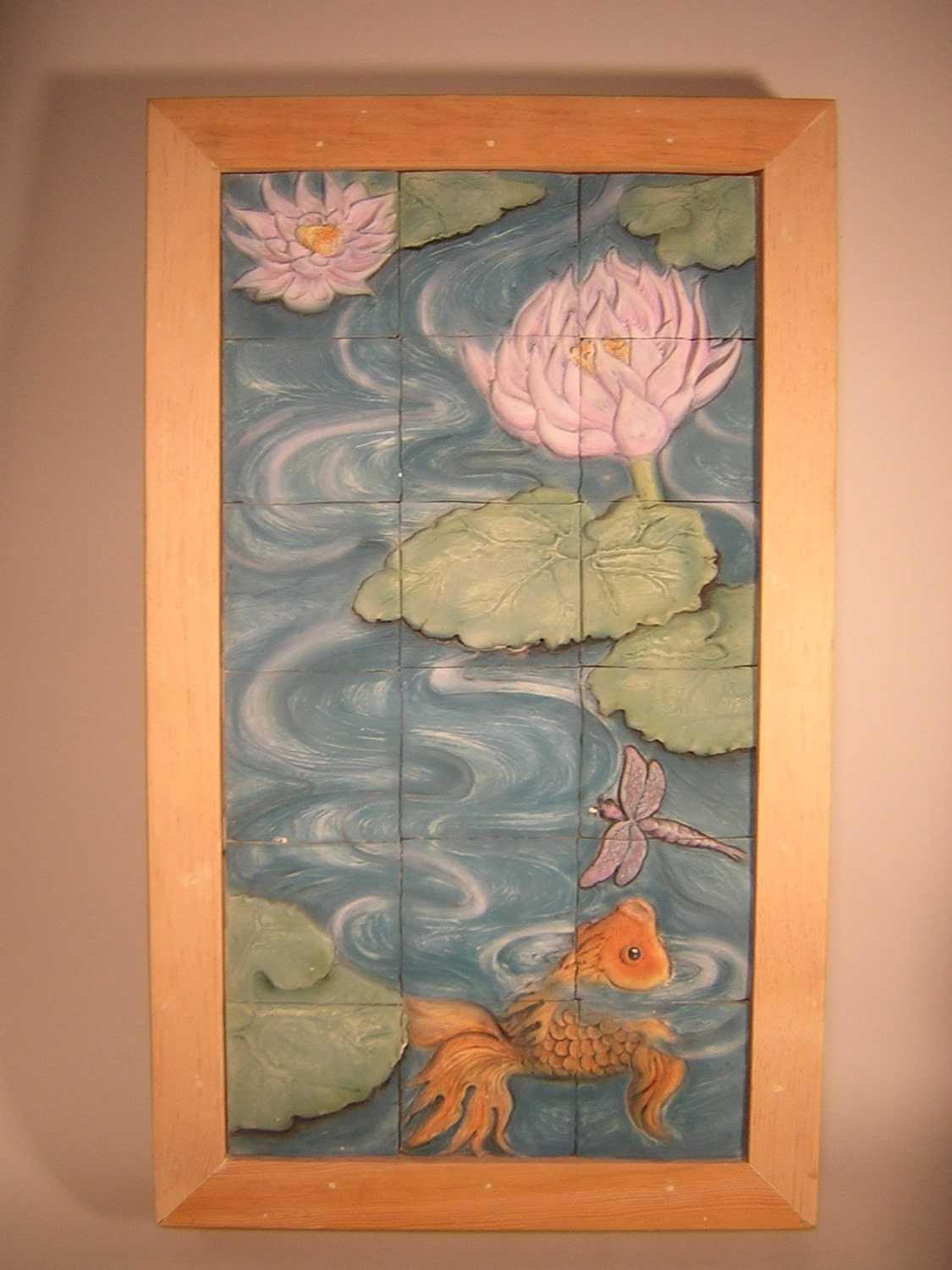 Tile mural featuring lotus flowers koi and dragonfly for Dragonfly mural