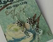 Crystal Drop Earrings Silver Flower