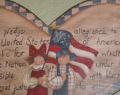 I Pledge Allegiance to the Flag  Wood Hand Painted Wall Hanging