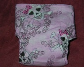 Sparkling Pink SKULL's Fitted Cloth diaper