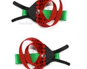 Pair of Ladybug Ribbon sculpture hair bow clips (pair)