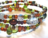 Green & Bronze Memory Wire bracelet