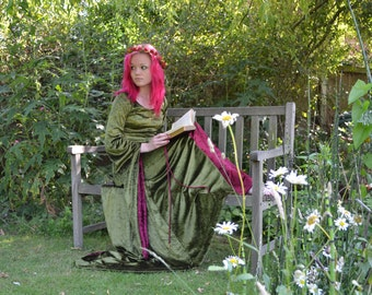 Beatrice, a Pre- Raphaelite, Gothic, Renaissance, Medieval Inspired  Wedding orHand Fasting Dress