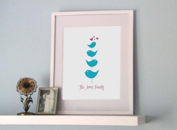 Family of Birds - customized art