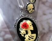 Skeleton Zombie Necklace Earrings Set - Lolita Goddess Ivory Black Cameo