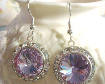 Violet Swarovski Crystal Earrings