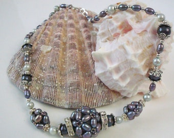 Lavender pearl ball necklace with swarovski crystal rondells