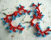 Red and Turquoise Coral Earrings - Reserved for Rebecca