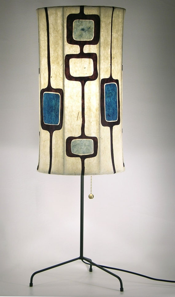 Lampshade / Retro Elegance / Blue Squares and  Chestnut Brown Design / Tall Cylinder Shape Lampshade