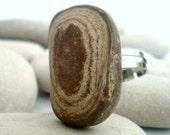 Natural Brown Sea Pebble Adjustable Ring