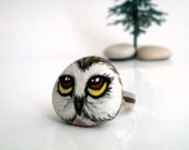 Woodland Owl   Hand Painted Whimsy Ring- Adjustable, original wearable art