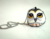 Hand Painted  Owl Necklace, Original painting soft plush fabric doll wearable art, woodland owl, gift under 25
