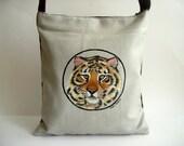 Tiger  Messenger Bag, Cross Body Bag - Hand Paint Purse