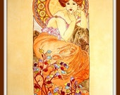 Painted Tile Wall Panel-  Art Nouveau Alphonse Mucha - Reproduction of Topaz