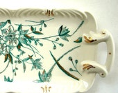 Mint Floral Hand painted Porcelain Tray -Turquoise and Gold, One of a Kind  Gift Under 100