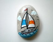 Nautical  Sail Boat Paperweight, hand paint rock home decor  ,  gift under 25