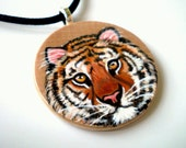 Orange Tiger Necklace  Hand Painted  Wooden  Art  Pendant ,   gift under 50 for animal lovers