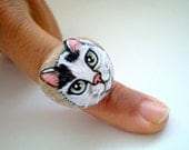 Tuxeco Cat Ring- Hand painted natural  sea stone, miniature art ,  gift for pet lovers cat lovers