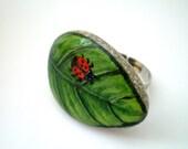 Spring Green Leaf   Ring, Hand Painted Pebble  - Adjustable, original painting, ladybug