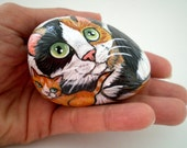 Painted Cat Rock -Mother Calico Cat  Rock and her ginger kitty baby, Stone Art Decor,  for pet lovers cat lovers, collectibles