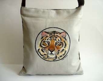 Tiger  Messenger Bag, Cross Body Bag - Hand Paint Purse
