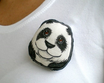 Panda  Brooch, Hand Painted soft plush animal art doll pin
