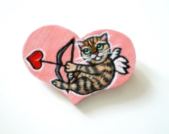 Love Cat  Brooch/  Hand  Paint Cupid Cat Pink Heart Wooden Pin