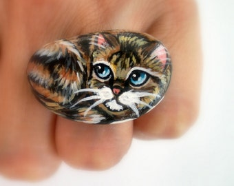 Cat  Ring - Hand Painted on Pebble - Adjustable, original wearable miniature art ,for pet lovers