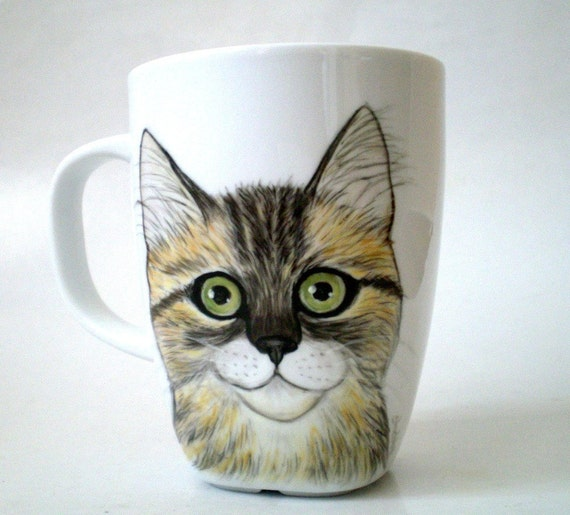 Painted  Cat  Mug Portrait Painting , Gift for Cat lovers Pet lovers, gift under 50