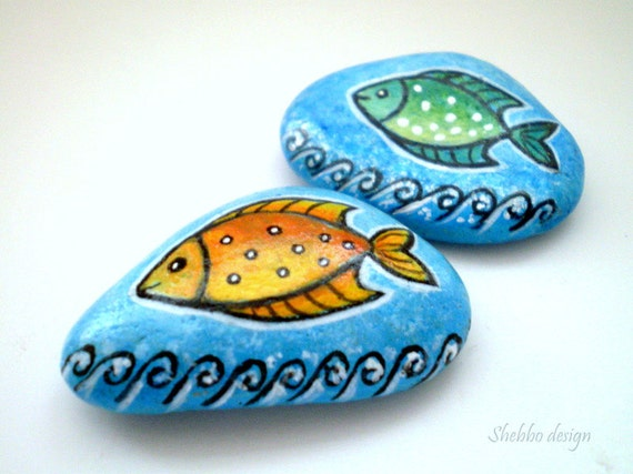Orange  Green Blue  Fishes Painted Stones  ,decorative rock art