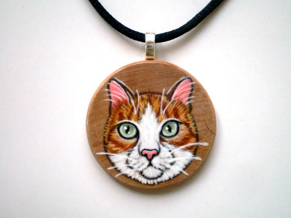 Cat Jewelry - Orange Cat Necklace,  Hand Painted  Wood  pendant ,   gift under 50 for pet lovers, cat lovers