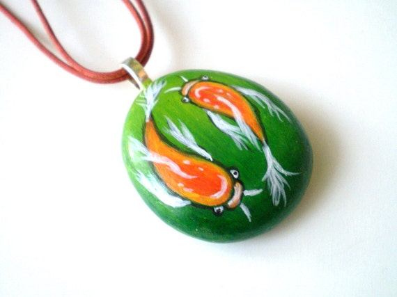 Koi Fish  Necklace , Beach Stone Jewelry, Pendant  gift under 50, hand painted  wearable art