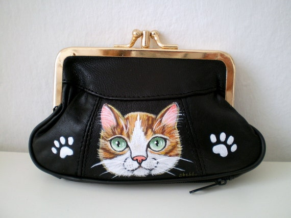 Cat Purse - Hand Paint Orange Tabby Cat - Black Leather Purse - ginger  cat purse - kitty wallet , kitty paws