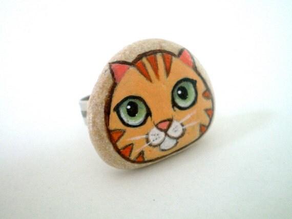 Orange Kitty Cat Ring - Painted Stone Cat Art Jewelry  - original wearable miniature art , for cat lovers