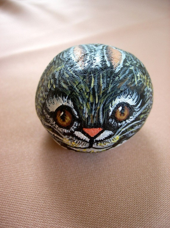 Miniature Painted Rock  Rabbit  Bunny ,pocket animal , collectibles, miniature art, gift under 25
