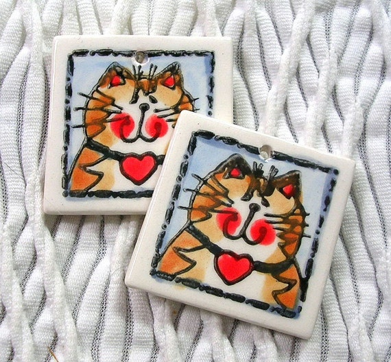 2 Pc. Brown Tabby Cat with Heart Mini Clay Tile Charms Earring Blanks Original Handmade Supplies