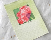 ACEO Trading Card Red Poppy Hand-Painted