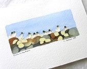 Bird Watercolor Dunlin on the Beach Original Art Card