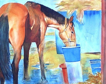 Original Watercolor Painting Horse - The Morning Drink
