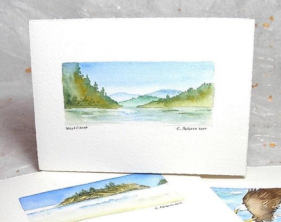 Pacific Westcoast, Original Watercolor Art Card - Paintings for Sale