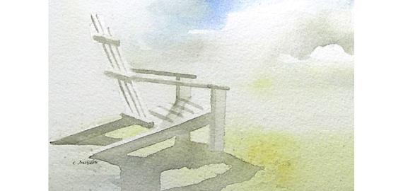 Original Beach Art Watercolor Painting Adirondack Chair, landscape paintings for sale