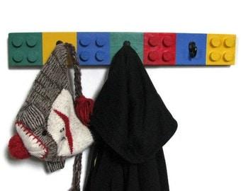 BUILDING BLOCK Coat Rack - TRADITIONAL Colorway, 3 Hooks, Children's Decor