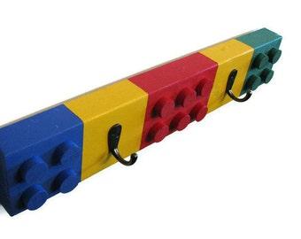 Building Brick Chunky Block Coat Rack - 2 Hooks - Unique Children's Decor, Building Block Coat Rack, Colorful, Bright