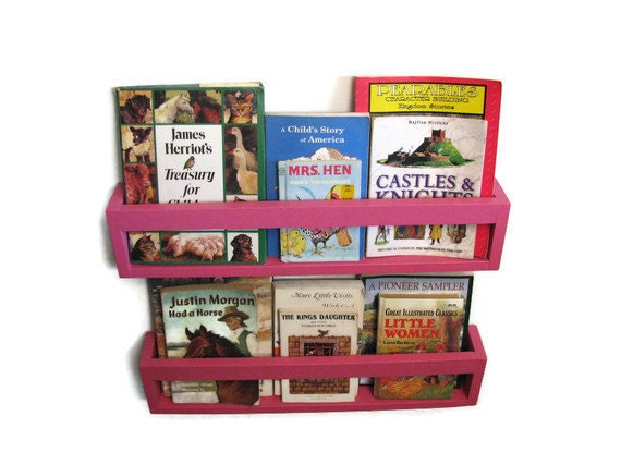 SET OF 4 - Open Face Bookshelves for a Child's Library - Choose Your Color, Nursery, Wall Shelves; Kids Books