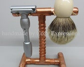 Handmade Copper Razor and Brush Stand excellent gift for  Fathers Day or Graduation