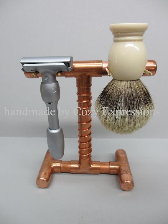 Handmade Copper Razor and Brush Stand